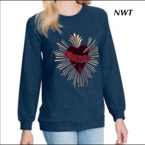 Jessica Simpson Sasha Heart Embroidered Sweatshirt